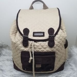 Vera Bradley quilted & suede drawstring backpack